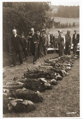 """<p>Under the supervision of American medics, German civilians file past the bodies of Jewish women exhumed from a mass grave in Volary. The victims died at the end of a death march from Helmbrechts, a subcamp of <a href=""""/narrative/6783/en"""">Flossenbürg</a>. Germans were forced to exhume them in order to give the victims proper burial.Volary, Czechoslovakia, May 11, 1945.</p>"""