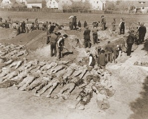 """<p>German civilians from Schwarzenfeld dig graves for the reburial of 140 Hungarian, Russian, and Polish Jews exhumed from a mass grave near the town. The victims died while on an evacuation transport from the <a href=""""/narrative/6783/en"""">Flossenbürg</a> concentration camp. Schwarzenfeld, Germany, April 25, 1945.</p> <p><span style=""""font-weight: 400;"""">Following the discovery of death march victims, US Army officers forced local Germans to view the scene of the crime and ordered the townspeople to give the victims a proper burial. </span></p>"""