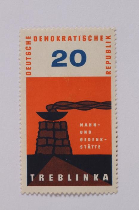 <p>In 1963, the German Democratic Republic (DDR) issued this postage stamp to commemorate the Treblinka killing center. This was the first stamp of a series issued annually by the DDR under the name <em>Mahn- und Gedensksatte</em> (Remembrance and Memorial Center) in remembrance and commemoration.</p>