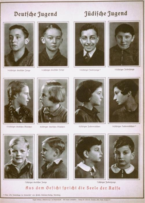 "<p>This 1938 racist illustration compares ""German Youth"" with ""Jewish Youth."" It is subtitled, ""From the face speaks the soul of the race."" It comes from Alfred Vogel's text <em>Inheritance and Racial Hygiene.</em>  The Nazis used <a href=""/narrative/3508/en"">racist theories</a> to label groups of people as inferior and as the ""enemy."" They Nazis claimed that ""superior"" races had not just the right but the obligation to subdue and even exterminate ""inferior"" ones. </p>"