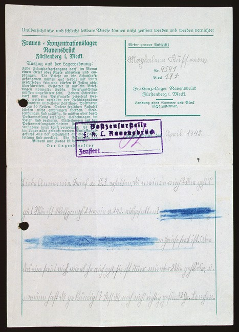 """<p>Magdalena Kusserow, incarcerated in a special barracks for <a href=""""/narrative/5070/en"""">Jehovah's Witnesses</a> in the <a href=""""/narrative/4015/en"""">Ravensbrück</a> concentration camp, used stationery provided to prisoners to write a letter to her sister Annemarie in April 1942. The handwritten numbers in the block in the upper right identify Magdalena as prisoner 9591, assigned to block 17a. Magdalena wrote to her sister in part (translated from German): """"Dear Annemarie. Received your letter of March 15, did you get mine? I'm fine. How did it go with Wolfgang's 2nd appointment on March 24? [words blotted out by German censor] .... How are you and why did you quit your job? Are you still not well? Greetings to Lanchen."""" In 1945, Magdalena and her mother were sent on a death march and were eventually liberated by Soviet forces.</p>"""