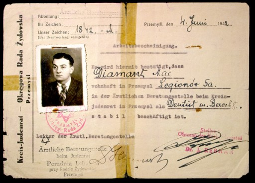 """<p>Dr. J. Rebhan, chair of the <a href=""""/narrative/4696/en"""">Jewish council</a> in Przemysl, Poland, signed this document certifying that Max Diamant had stable employment in the Jewish clinic. The certificate identifies Diamant as a dentist and is dated June 4, 1942.</p> <p>During World War II, the Germans established Jewish councils to ensure that Nazi orders and regulations were implemented. Jewish council members also sought to provide basic community services for ghettoized Jewish populations.</p>"""