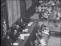 <p>The Medical Case was one of twelve war crimes trials held before an American tribunal as part of the Subsequent Nuremberg Proceedings. The trial dealt with doctors and nurses who had participated in the killing of physically and mentally impaired Germans and who had performed medical experiments on people imprisoned in concentration camps. Sixteen of the defendants were found guilty. Of the sixteen, seven were sentenced to death for planning and carrying out experiments on human beings against their will. Here, the court announces sentences for defendants Wilhelm Beigleboeck, Herta Oberhauser, and Fritz Fischer.</p>