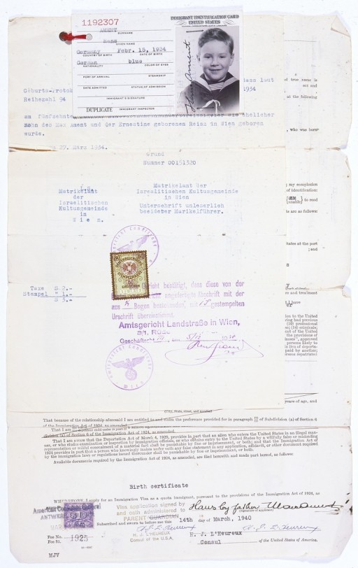 Birth certificate, US immigration visa application, and identification card issued to Hans Ament, born in Vienna, Austria in 1934.