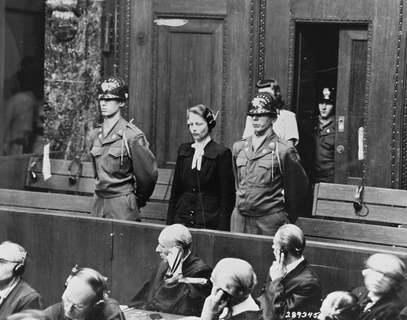 "<p>Herta Oberheuser was a physician at the Ravensbrück concentration camp. This photograph shows her being sentenced at the <a href=""/narrative/9245/en"">Doctors Trial</a> in Nuremberg. Oberheuser was found guilty of performing <a href=""/narrative/3000/en"">medical experiments</a> on camp inmates and was sentenced to 20 years in prison. Nuremberg, Germany, August 20, 1947.</p>"