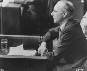 "<p>Victor Brack, one of the Nazi doctors on trial for having conducted <a href=""/narrative/3000/en"">medical experiments</a> on concentration camp prisoners. Nuremberg, Germany, August 1947.</p>"