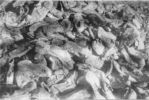 "<p>Shoes of victims in the <a href=""/narrative/4792/en"">Janowska</a> camp were found by Soviet forces after the liberation of Lvov. Janowska, Poland, August 1944.</p>"