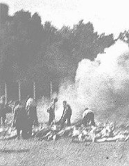 <p>Cremation of corpses at Auschwitz-Birkenau. This photograph was taken clandestinely by prisoners in the <em>Sonderkommando</em>. Poland, summer 1944.</p>