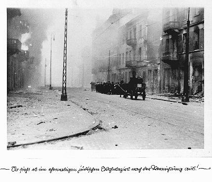 """<p>A page from SS officer Juergen Stroop's report on the <a href=""""/narrative/3636/en"""">Warsaw ghetto uprising</a>. He wrote: """"This is what the former Jewish residential quarter looks like after its destruction."""" Warsaw, Poland, April-May, 1943.</p>"""