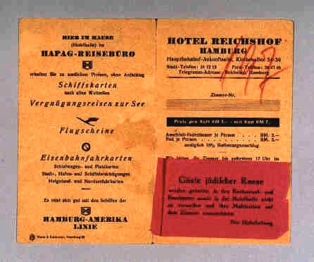 <p>1939 flyer from the Hotel Reichshof in Hamburg, Germany. The red tag informed Jewish guests of the hotel that they were not permitted in the hotel restaurant, bar, or in the reception rooms. The hotel management required Jewish guests to take their meals in their rooms. Following the Nuremberg Laws of 1935, Jews were systematically excluded from public places in Germany.</p>