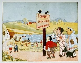 """<p>Illustration from an antisemitic children's book. The sign reads """"Jews are not wanted here."""" Books such as this one usedantisemitic caricatures in an attempt to promoteNazi racial ideology. Germany, 1936.</p>"""