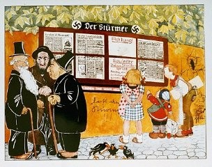 """<p>Illustration from a German antisemitic children's book titled <em>Trust No Fox in the Green Meadow and No Jew on his Oath</em> (translation from German). The headlines depicted in the image say """"Jews are our misfortune"""" and """"How the Jew cheats."""" Germany, 1936.</p>"""