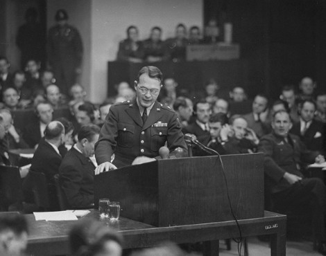 Brigadier General Telford Taylor, the US chief counsel, delivers the prosecution's opening statement at the Ministries Trial.
