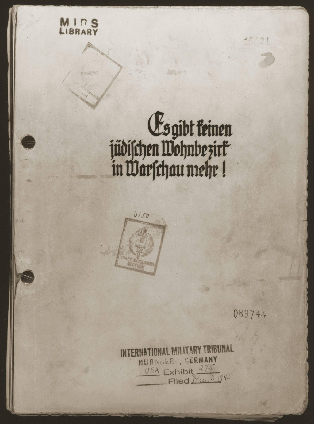 """<p>SS Major General Juergen Stroop, commander of German forces that suppressed the Warsaw ghetto uprising, compiled an album of photographs and other materials. This album, later known as """"The Stroop Report,"""" was introduced as evidence at the International Military Tribunal at Nuremberg. Here, its cover is marked with an IMT evidence stamp.</p>"""