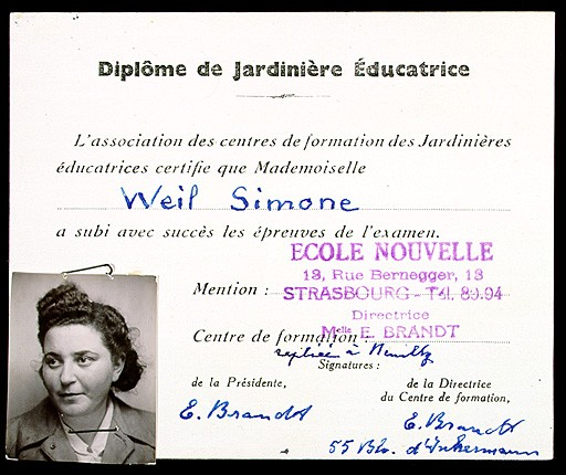 "<p>Simone Weil earned this diploma, which certified her to teach kindergarten in France, from the School of Social Work in Strasbourg in 1940. Weil assumed a false identity in late 1943 to facilitate her resistance activities as a member of the relief and rescue organization Oeuvre de Secours aux Enfants (Children's Aid Society; OSE). Among the papers documenting Weil's new identity was a forged version of this diploma bearing the name ""Simone Werlin"".</p>"