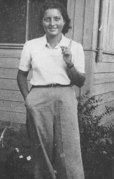 """<p>Jewish <a href=""""/narrative/5666/en"""">parachutist</a> Hannah Szenes at Kibbutz Sedot Yam, a communal agricultural settlement. Palestine, 1941.</p>"""