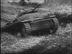 <p>Germany invaded France in May 1940. This footage shows German tanks, artillery, and divebombers attacking the Maginot Line, a series of French fortifications intended to protect France's border with Germany. The main German assault, however, went to the north through Luxembourg and bypassed the Maginot Line. German forces entered Paris on June 14, 1940. Little more than a week later, defeated France signed an armistice with Germany.</p>