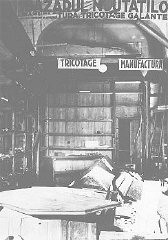 """<p>A knitwear store that was emptied and destroyed during the January 21-23 Iron Guard <a href=""""/narrative/3487/en"""">pogrom</a>. Bucharest, <a href=""""/narrative/6527/en"""">Romania</a>, January 1941.</p>"""