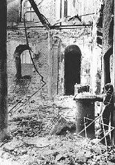 <p>Sephardic synagogue destroyed during the January 21-23 Iron Guard pogrom. Bucharest, Romania, January 1941.</p>