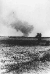 "<p>Distant view of smoke from the Treblinka killing center, set on fire by prisoners during a revolt. This scene was photographed by a railway worker. <a href=""/narrative/3819/en"">Treblinka</a>, Poland, August 2, 1943.</p>"