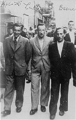 """<p>Three participants in the Treblinka uprising who escaped and survived the war. Photograph taken in Warsaw, Poland, 1945.</p> <p class=""""document-desc moreless"""">Pictured from left to right are: Abraham Kolski, Lachman and Brenner. After participating in the Treblinka uprising, they escaped from the camp and found temporary refuge in the nearby forest. Afterwards they hid with a Christian family until liberation.</p> <div class=""""datapair""""></div>"""