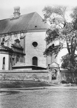 "<p>Postwar photo of a church in the village of Chelmno. Jews were kept in this building en route to the <a href=""/narrative/3852/en"">Chelmno </a>killing center. Chelmno, Poland, June 1945.</p>"
