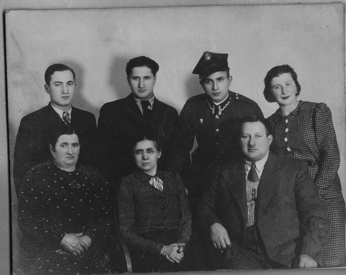 Noah Lewin (top left) family portrait. Bottom left, Noah's mother Sara, his aunt Basia visiting from the United States, his father Yitzak.