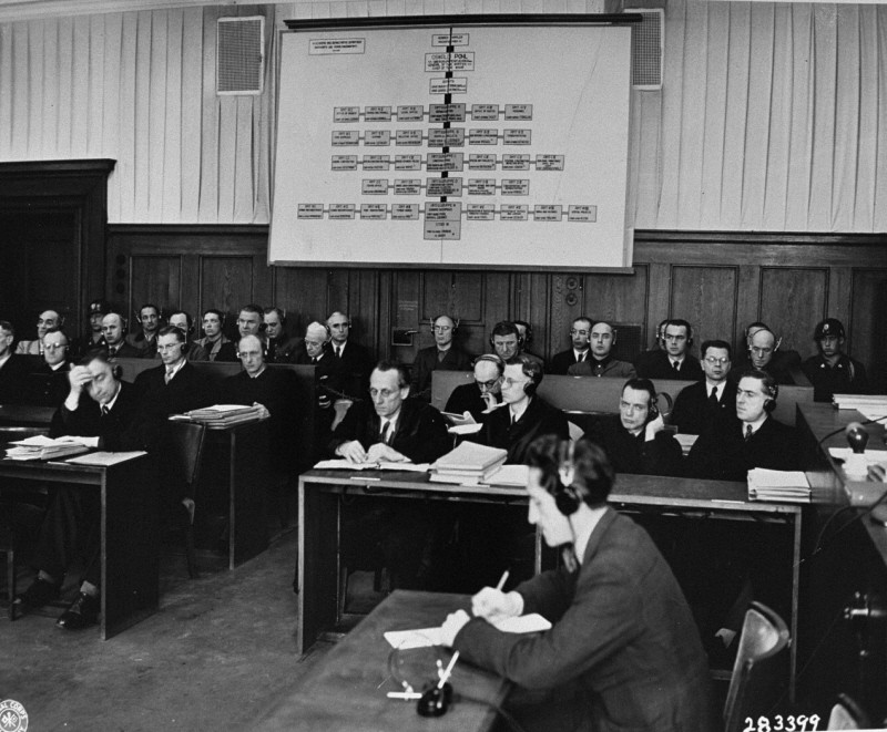 The defendants (back row) and their lawyers (front row) during the Pohl Trial.