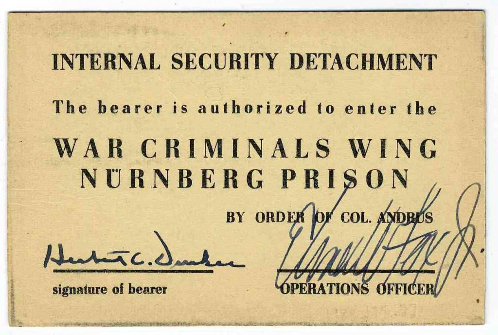 International Military Tribunal prison pass [LCID: 20056frm]