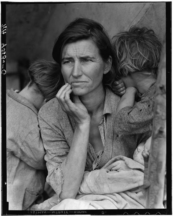 "<p>This photograph, taken by Dorothea Lange, shows Florence Owens Thompson and her children in February or March of 1936 in Nipomo, California. Lange recounted later, ""...There she sat in that lean-to tent with her children huddled around her, and seemed to know that my pictures might help her, and so she helped me. There was a sort of equality about it."" </p>"