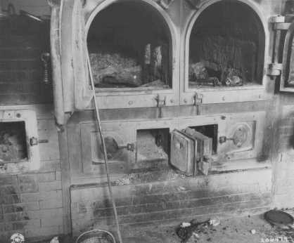 The crematoria at the Gusen camp, a subcamp of Mauthausen concentration camp, still held human remains after liberation. [LCID: 80746]