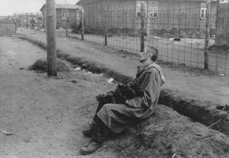 An inmate of the Bergen-Belsen camp, after liberation. [LCID: 19077b]
