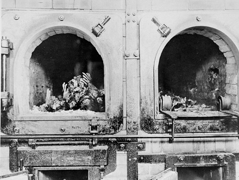 The charred remains of former prisoners in two crematoria ovens in the newly liberated Buchenwald concentration camp. [LCID: 80253]
