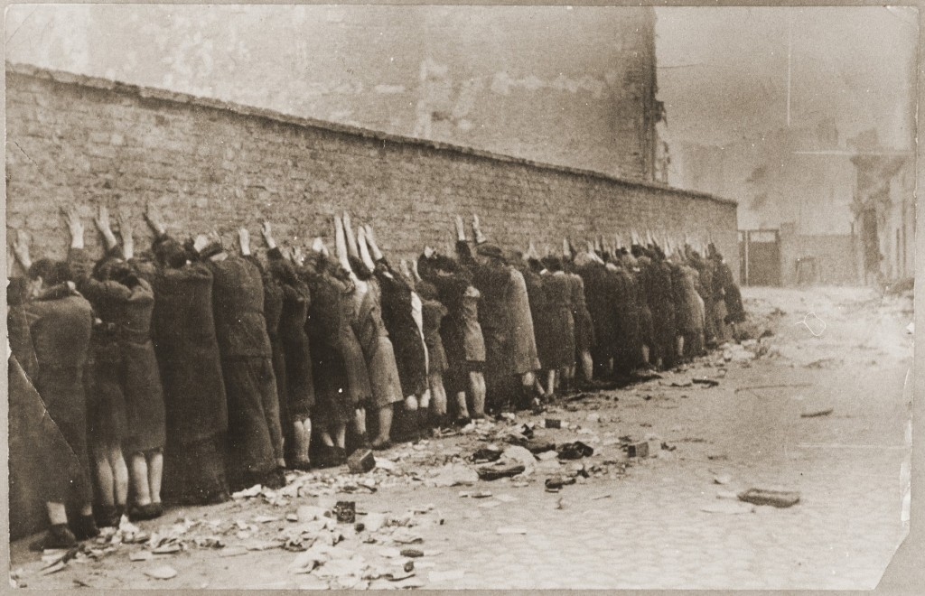 Jews captured during the Warsaw ghetto uprising. Poland, April 19-May 16, 1943. [LCID: 46432]