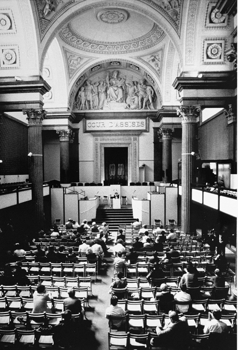 "The courtroom where Klaus Barbie, former Gestapo (German Secret State Police) chief in Lyon, was tried on charges of ""crimes against ... [LCID: 02272]"