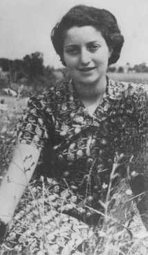 """<p>Jewish <a href=""""/narrative/5666"""">parachutist</a> Hannah Szenes at Kibbutz Sedot Yam, a communal agricultural settlement. Palestine, 1942.</p>"""