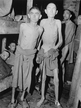 Survivors of the Ampfing subcamp of the Dachau concentration camp soon after liberation by US troops. [LCID: 67871]