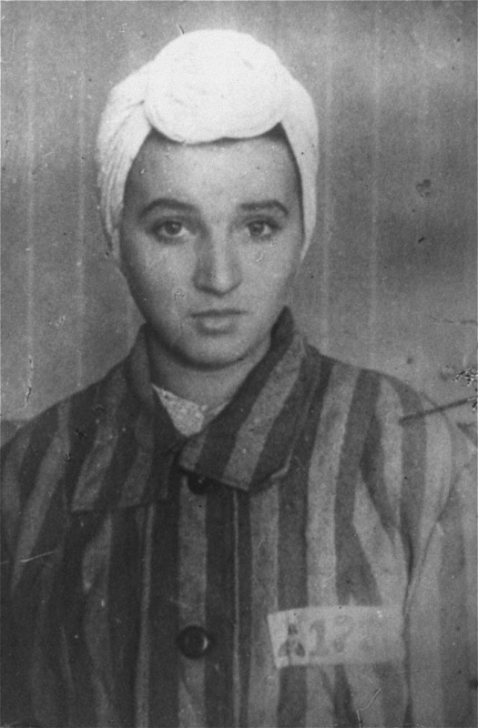 "<p>14-year-old Sara Bialovadska, imprisoned in the Kaiserwald concentration camp near <a href=""/narrative/6400"">Riga</a>. <a href=""/narrative/5729"">Latvia</a>, 1943.</p>"