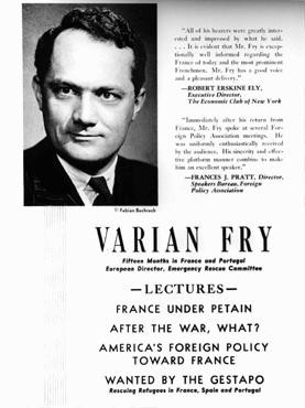 "<p>An advertisement for a series of lectures by <a href=""/narrative/7470"">Varian Fry</a>, who worked in France to help anti-Nazi artists and intellectuals escape to the United States. New York, United States, 1942.</p>"