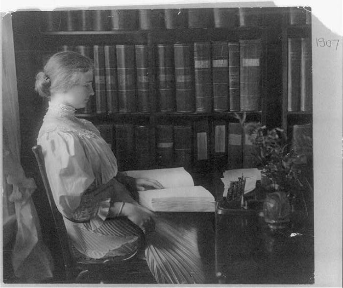 "<p>Portrait of <a href=""/narrative/7687/en"">Helen Keller</a>, seated, reading Braille. September 1907. </p>