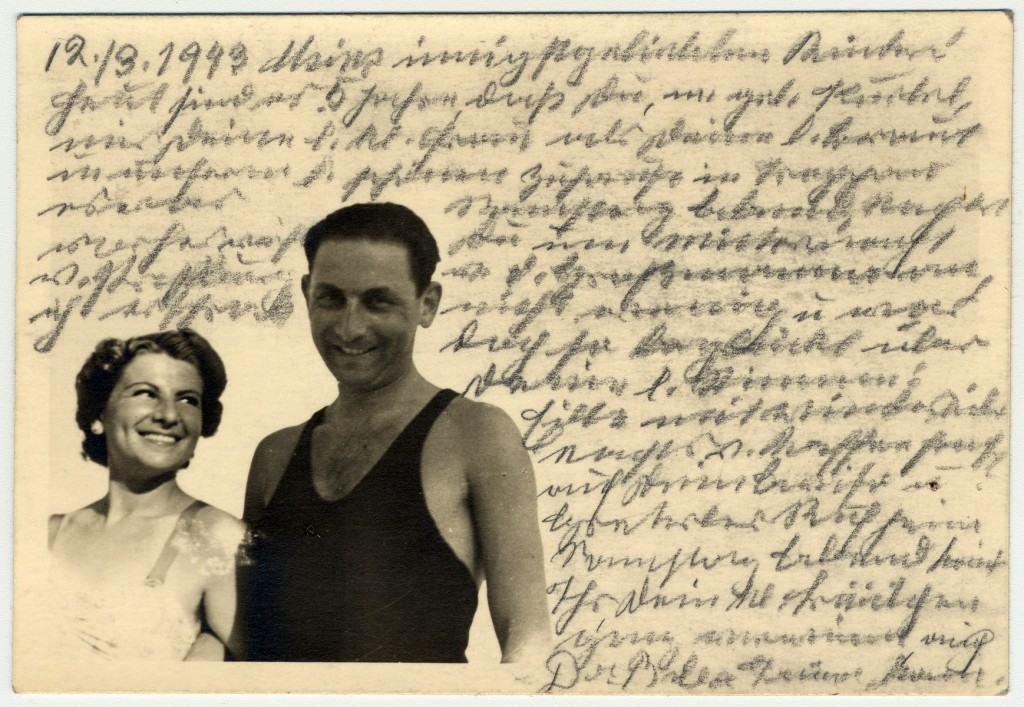 """<p>Photograph showing Kurt, Helene Reik's son, and his wife, while on vacation in April/May 1938 in Kupari, Croatia.</p> <p>After her deportation to the <a href=""""/narrative/5386"""">Theresienstadt</a> ghetto in Czechoslovakia, Helene yearned to record what was happening to her. This photograph was sent to Helene, who used it as paper for her diary in Theresienstadt. Helene's makeshift diary offers wistful memories of her husband and parents who died before the war, loving thoughts of her family who had left Europe in 1939, and a firsthand account of the illness and hospitalization that ultimately led to her death.</p> <p>Because resources were scarce in the Theresienstadt ghetto, Helene recorded her thoughts, recollections, and diary entries in the margins and on the backs of family pictures that she had brought with her, as well as postcards and letters she received while in the ghetto.</p>"""