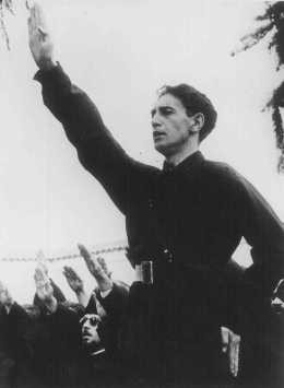 "<p>Horia Sima, leader of the Iron Guard and deputy prime minister of the Romanian government in 1940. Bucharest, <a href=""/narrative/6527/en"">Romania</a>, 1940.</p>