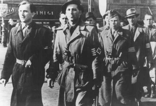 <p>Members of the Arrow Cross Party after taking over power. Budapest, Hungary, October 17, 1944.</p>