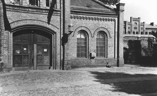 "<p>Entrance to the Ploetzensee prison. At Ploetzensee, the Nazis executed hundreds of Germans for opposition to Hitler, including many of the participants in the <a href=""/narrative/12002"">July 20, 1944, plot to kill Hitler</a>. Berlin, Germany, postwar.</p>"