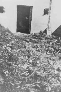 <p>Remains of inmates in front of a crematorium at the Majdanek camp. Poland, after July 22, 1944.</p>