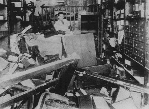 <p>Jewish-owned store vandalized during the January 21-23 Iron Guard pogrom. Bucharest, Romania, January 1941.</p>