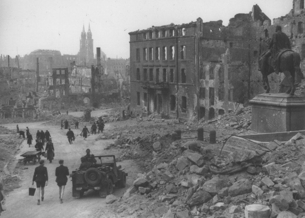 <p>View of the bombed-out city of Nuremberg. Visible in the distance is the twin-spired Lorenz Church, and on the right, a statue of Kaiser Wilhelm I. Nuremberg, Germany, 1945. </p>