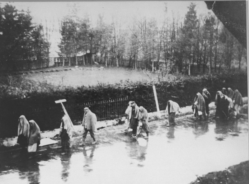 "<p>A view of the <a href=""/narrative/11271"">death march</a> from <a href=""/narrative/4391"">Dachau</a> passing through villages in the direction of Wolfratshausen. German civilians secretly photographed several death marches from the Dachau concentration camp as the prisoners moved slowly through the Bavarian towns of Gruenwald, Wolfratshausen, and Herbertshausen. Few civilians gave aid to the prisoners on the death marches. Germany, April 1945.</p>"