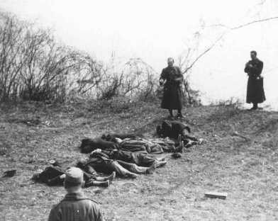 Arrow Cross Party members execute Jews along the banks of the Danube River. [LCID: 86152]