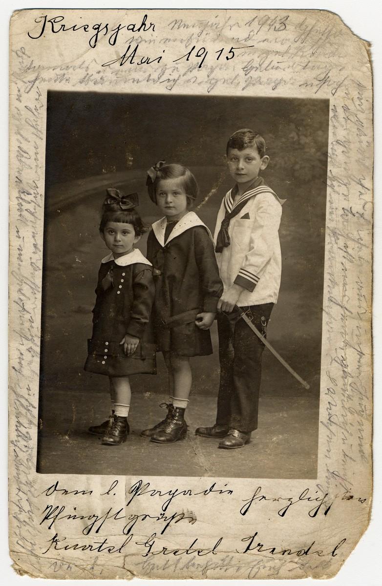 Photograph taken in May 1915 of Helene Reik's children.